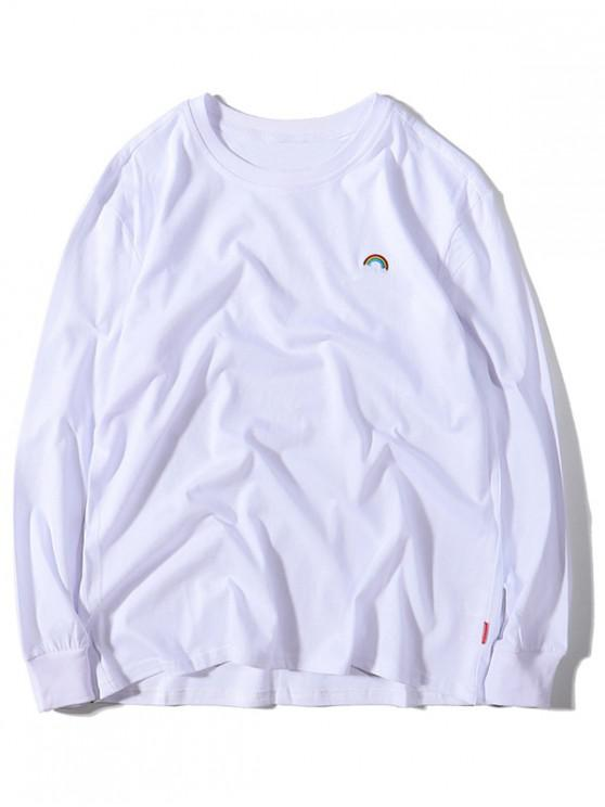 latest Rainbow Embroidery Crew Neck Casual T-shirt - WHITE L