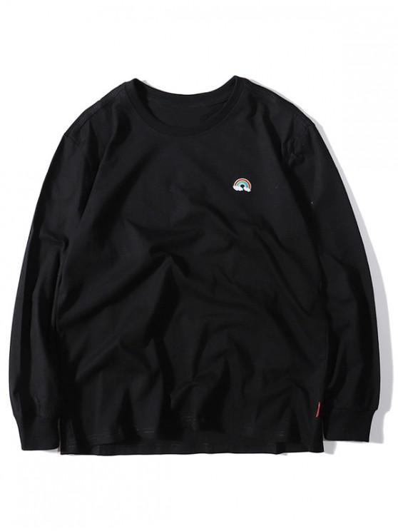 affordable Rainbow Embroidery Crew Neck Casual T-shirt - BLACK M