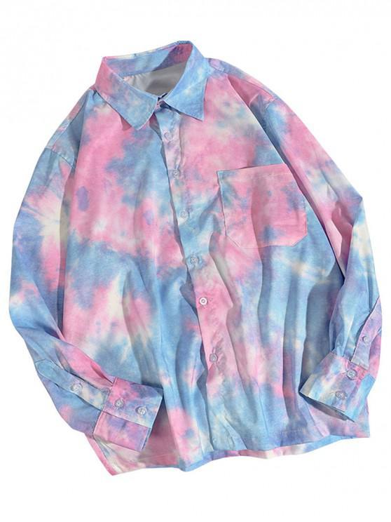 Krawattenfärbender Druck Taschen Knopf Hemd - Rosa 2XL