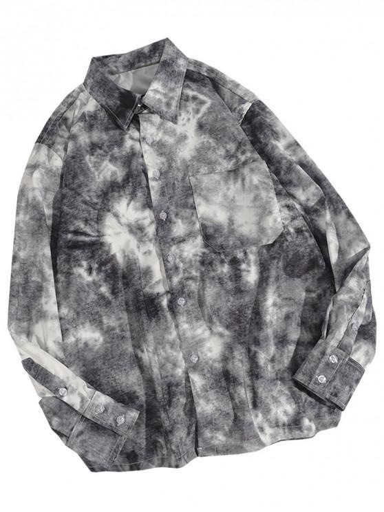 Рубашка На пуговицах Карман Tie Dye - Чёрный 2XL