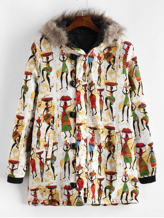 outfits Tribal Women Character Print Hood Long Padded Coat - MULTI-B M