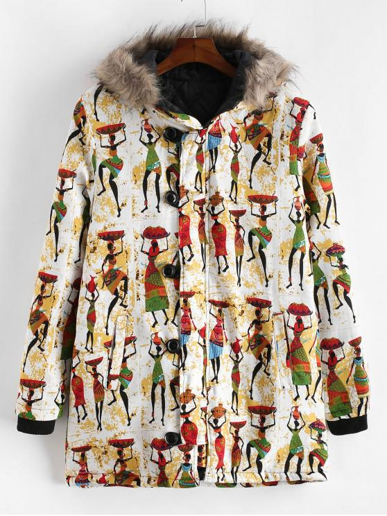 shop Tribal Women Character Print Hood Long Padded Coat - MULTI-B L