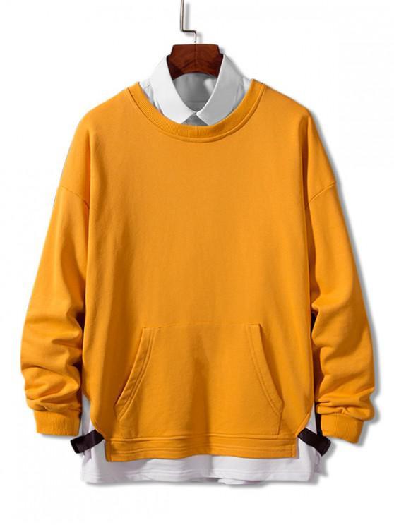 fancy Colorblock Spliced Strap Faux Twinset Sweatshirt - GOLDEN BROWN 3XL