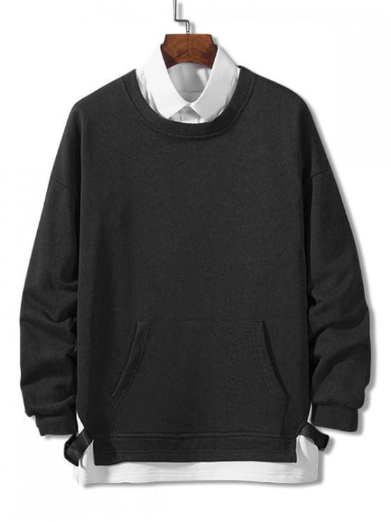 Colorblock înnădite Curea Faux twinset Sweatshirt - Negru 4XL