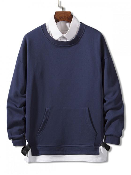 Colorblock înnădite Curea Faux twinset Sweatshirt - Denim albastru închis 4XL