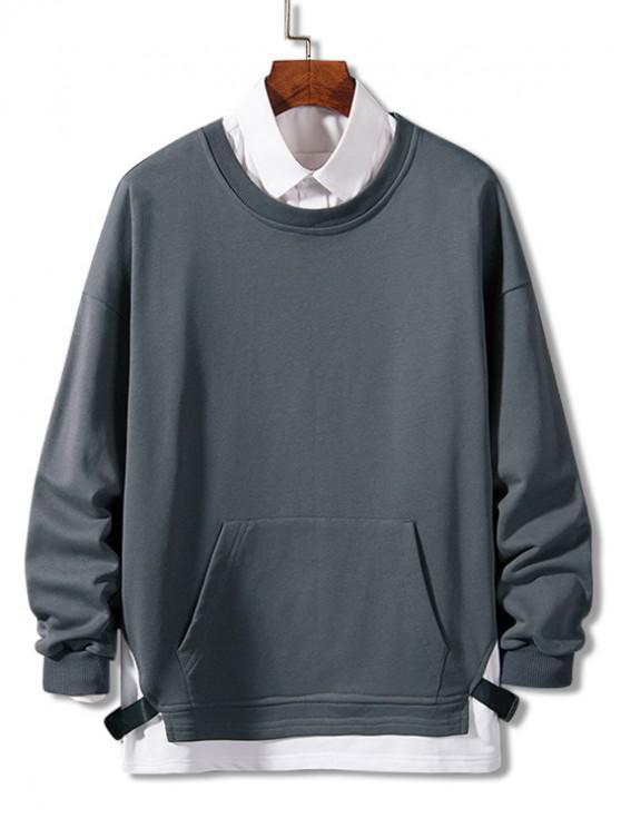Farbblock Gespleißtes Gurt Künstliche Twinset Sweatshirt - Bewölkt Grau 4XL