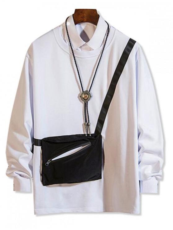 fancy Zipper Pocket Spliced Crew Neck Sweatshirt - WHITE M