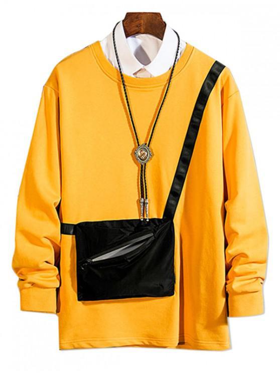 women Zipper Pocket Spliced Crew Neck Sweatshirt - BRIGHT YELLOW L