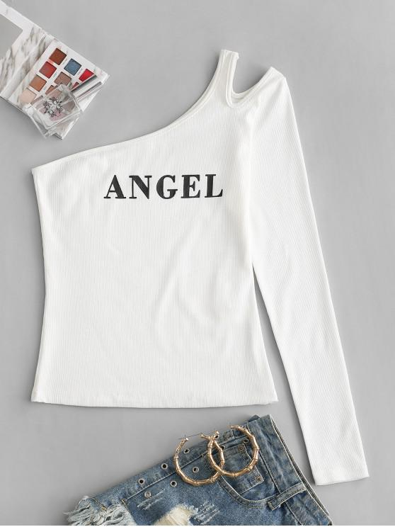trendy ZAFUL One Shoulder Ribbed Angel Print Cutout T-shirt - WHITE XL