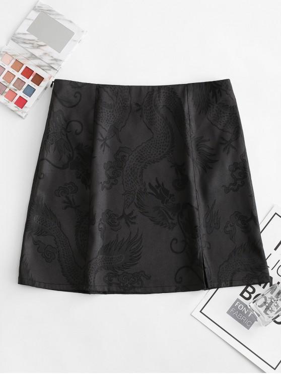 shop ZAFUL Slit Jacquard A Line Skirt - NIGHT M