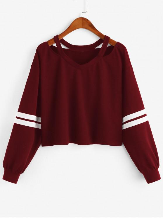 ZAFUL Sweat-Shirt à Epaule Dénudée - Rouge Vineux S