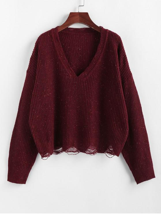 new ZAFUL Confetti Drop Shoulder Distressed Sweater - RED WINE L