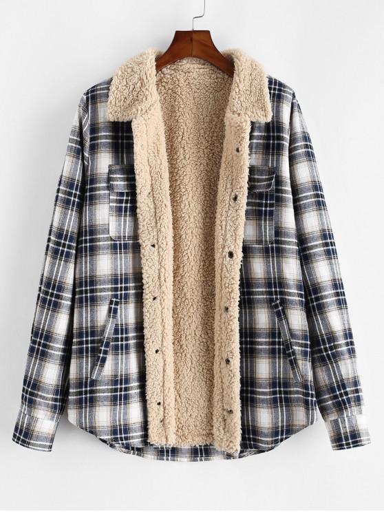 chic ZAFUL Plaid Pattern Casual Button Fluffy Jacket - MULTI M