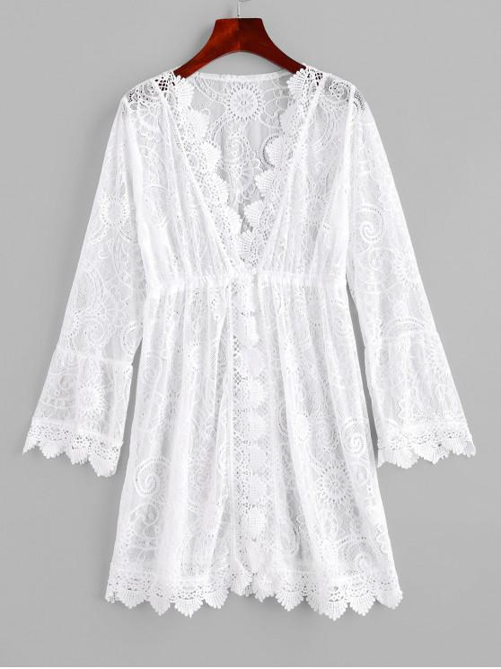 sale Lace Long Sleeve Cover-up Dress - WHITE M