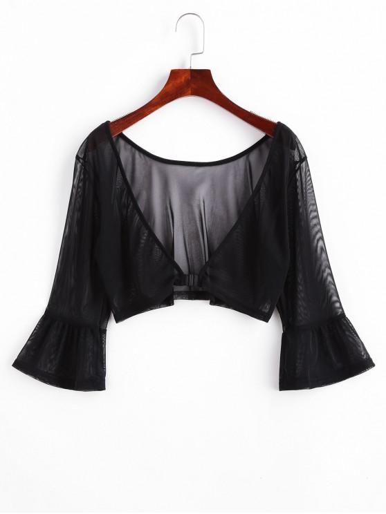 fashion Front Closure Sheer Mesh Top - BLACK XL