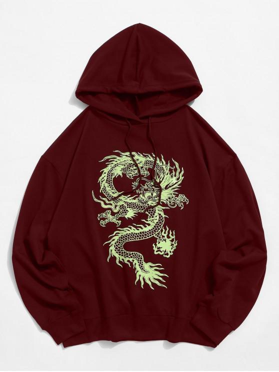 ドラゴン グラフィック 巾着 ゆったり パーカー - 赤ワイン 2XL