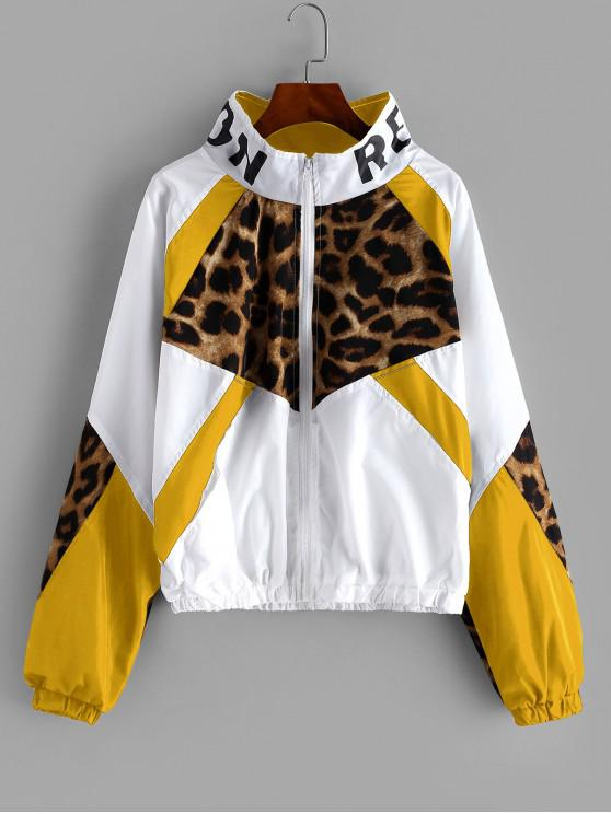 online Zip Front Snake Leopard Colorblock Windbreaker Jacket - YELLOW S
