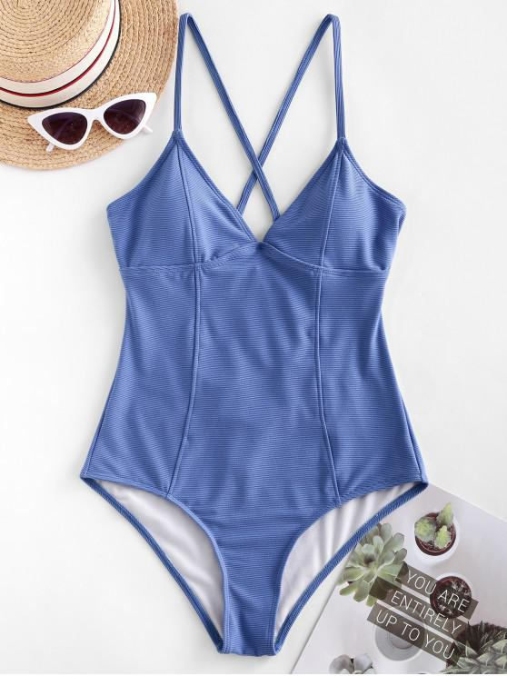 ZAFUL Ribbed Entrecruzamento Princesa Seam uma peça Swimsuit - Centáurea-Azul L
