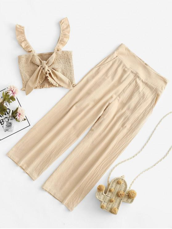 best ZAFUL Smocked Tied Ruffle High Waisted Wide Leg Pants Set - APRICOT L