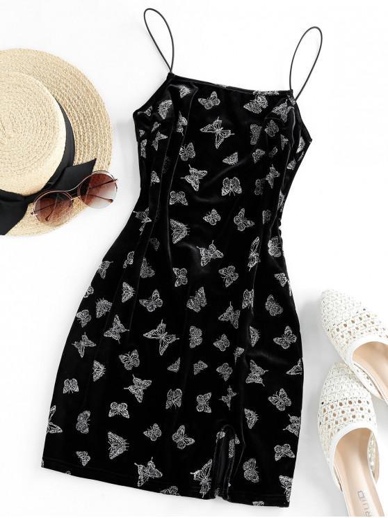 lady ZAFUL Metallic Butterfly Slit Velvet Cami Dress - BLACK XL