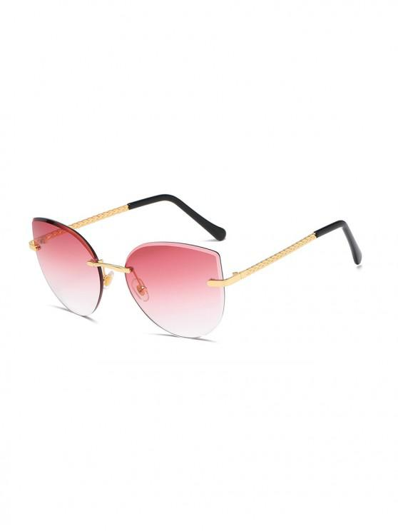 unique Gradient Cut Edge Rimless Sunglasses - WATERMELON PINK