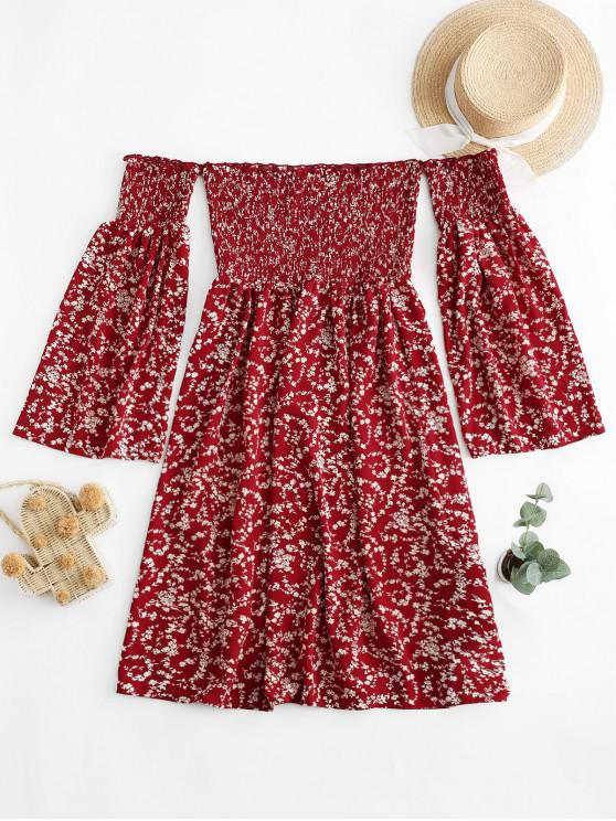 lady ZAFUL Tiny Floral Off Shoulder Smocked Dress - VALENTINE RED M
