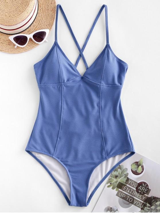 sale ZAFUL Ribbed Crisscross Princess Seam One-piece Swimsuit - CORNFLOWER BLUE L