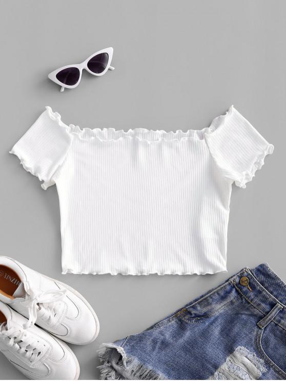ZAFUL Camiseta Corta con Hombro Descubierto - Blanco M