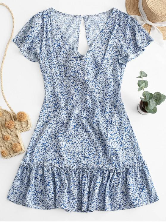 chic ZAFUL Ditsy Floral Tie Back Cut Out Mini Dress - SLATE BLUE XL