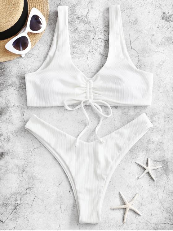 womens ZAFUL Ribbed Cinched High Leg Bikini Swimsuit - WHITE M