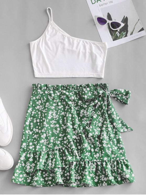 women ZAFUL One Shoulder Ditsy Floral Ruffles Two Piece Dress - MULTI S