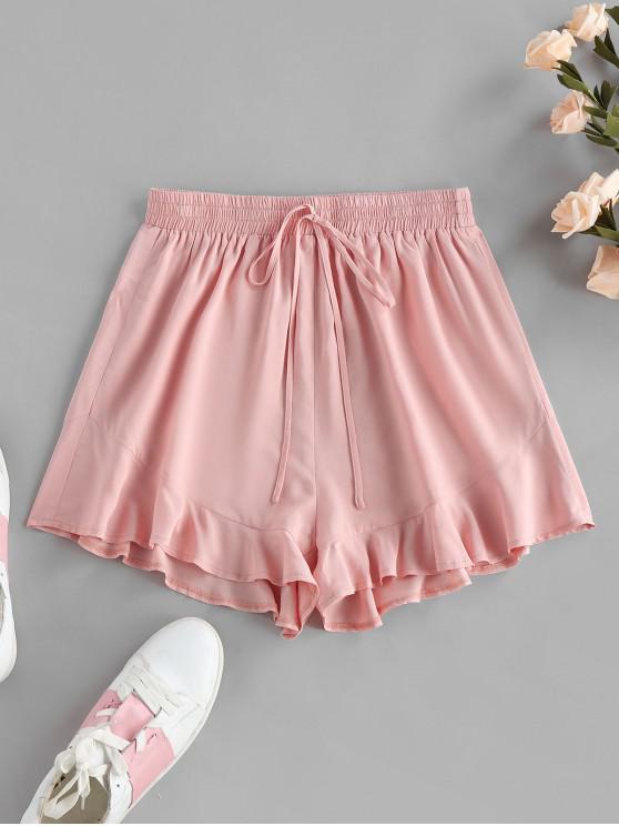hot ZAFUL Flounce Tie Elastic Waist Shorts - ROSE L