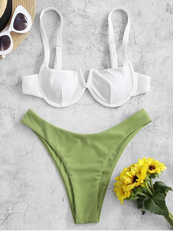 fancy ZAFUL Ribbed V-notch Underwire Balconette Bikini Swimsuit - GREEN ONION L