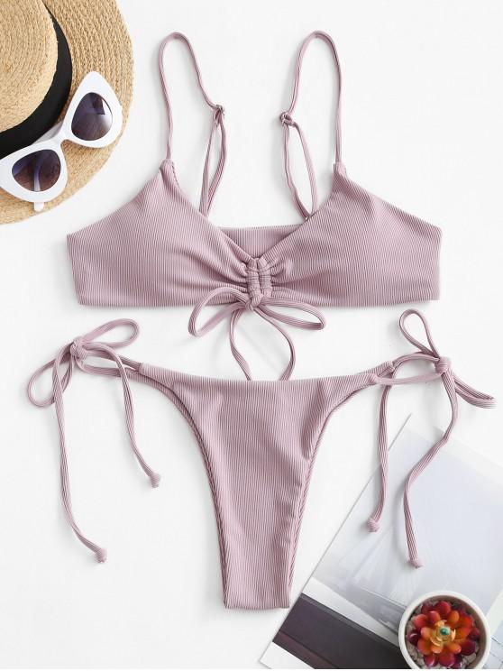 ZAFUL pețiol cinched Tie Side Bikini Swimsuit - Mov L