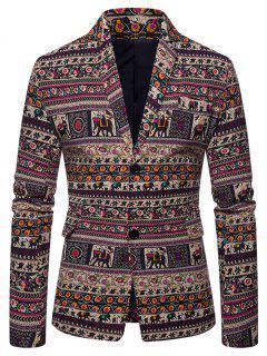 Ethnic Tribal Floral Print Slit Casual Blazer - Multi-a M