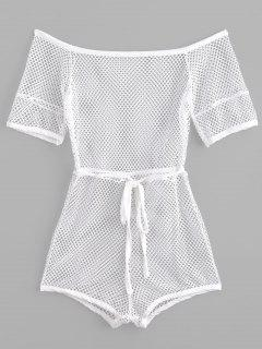 Off The Shoulder Beach Fishnet Romper - White M