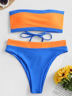 ZAFUL Two Tone Lace Up High Leg Bandeau Bikini Swimwear - Blueberry Blue M