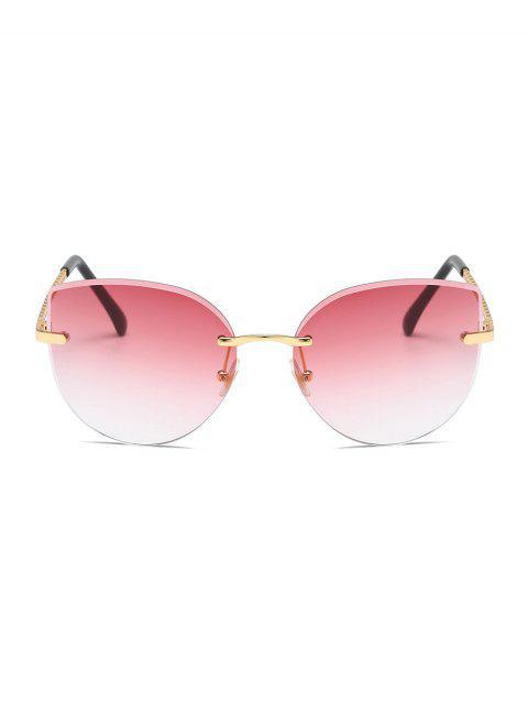 Градиент цвета Без оправы Солнцезащитные Очки - Арбуз-розовый  Mobile