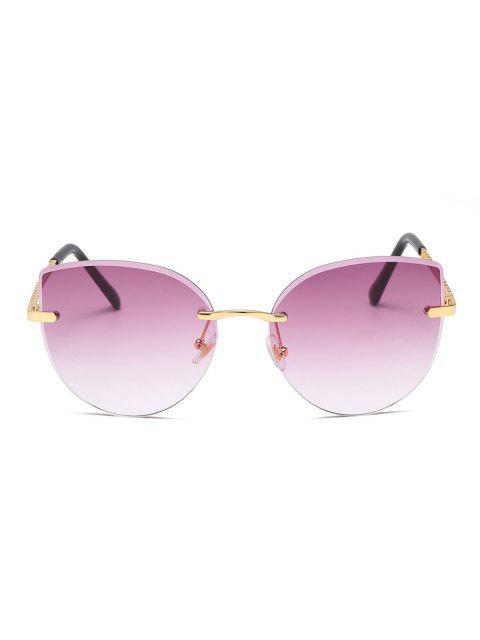 Градиент цвета Без оправы Солнцезащитные Очки - Розовато-лиловый   Mobile