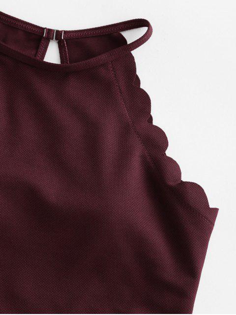 ZAFUL textura festoneado de Tankini del traje de baño - Vino Tinto S Mobile