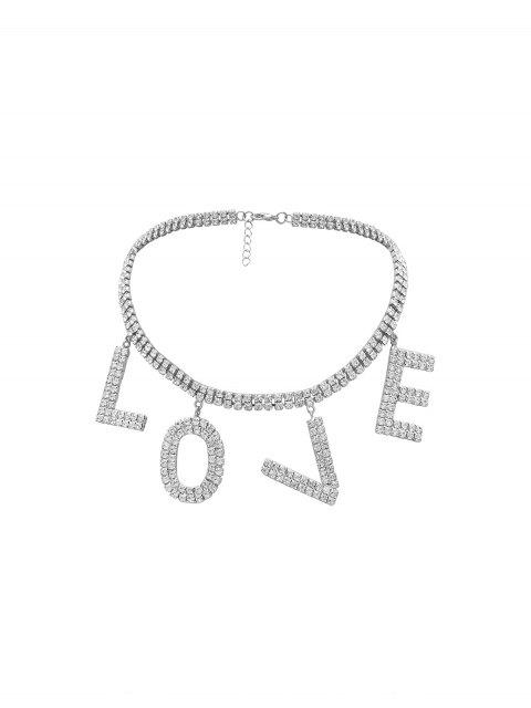 水鑽愛圖形項圈項鍊 - 銀  Mobile