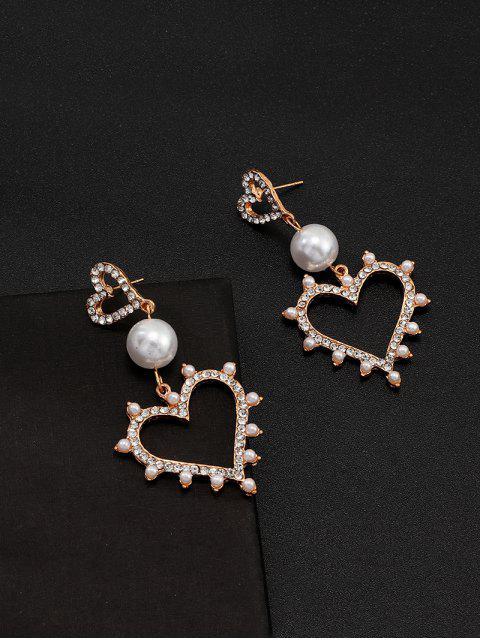 心臟人造珍珠水鑽耳環 - 金  Mobile