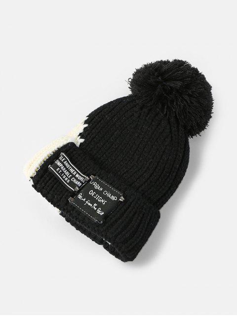Gestrickte Winter Farbblock Pudelmütze - Schwarz  Mobile