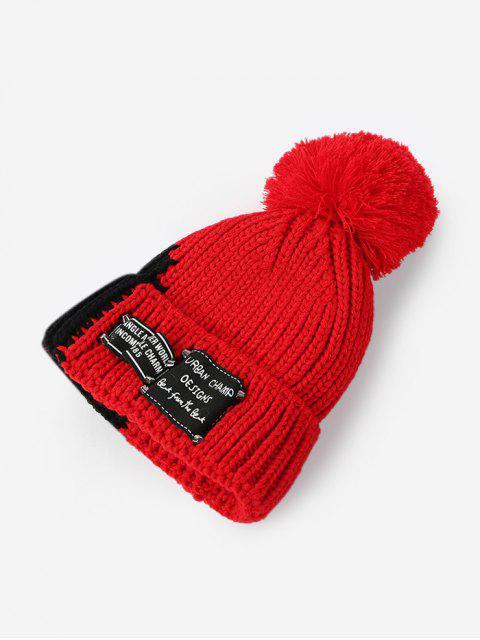 Gestrickte Winter Farbblock Pudelmütze - Rot  Mobile