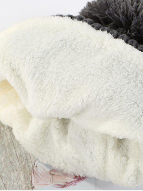 Bonnet d'Hiver Tricoté en Blocs de Couleurs - Gris  Mobile