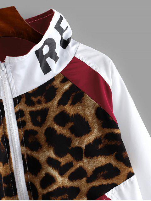Reißverschluss vorne Snake Leopard Colorblock Windjacke - Roter Wein XL Mobile