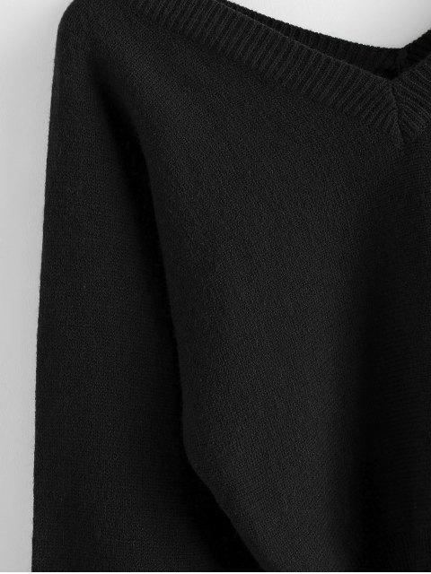 ZAFUL Pullover mit Raglan Ärmel und Doppelter V Ausschnitt - Schwarz L Mobile