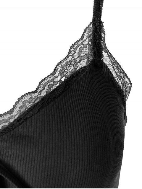 ZAFUL蕾絲蝴蝶結插入作物吊帶背心 - 黑色 XL Mobile