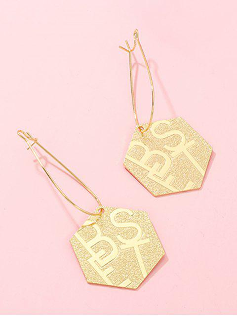 Geometrische Buchstaben Stern-Tropfen-Ohrringe - Gold Hexagon Mobile