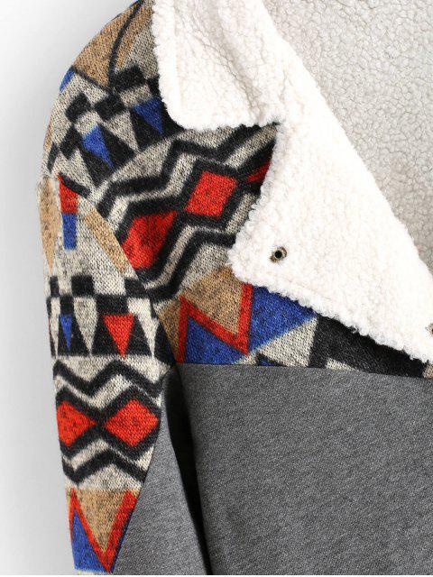 ZAFUL Stammes Geometrischer Druck Gespleißte Künstliche Pelz Flauschige Jacke - Multi 2XL Mobile